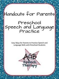 Free! Handouts for Parents: Preschool Speech and Language Practice