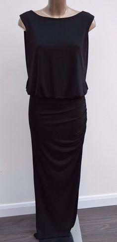 Ladies River Island Black Open Back Party Xmas Maxi Long Dress Women Size 12