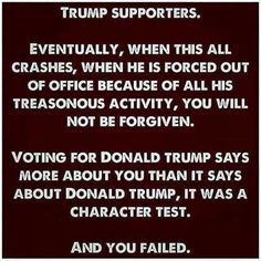 You failed. And you voted for a CON MAN! I know it's hard to admit. Lesson learned? Doubt it. SAD!