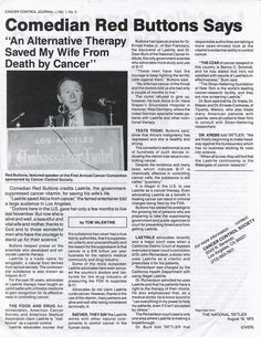 Comedian Red Buttons says: An Alternative Therapy Saved My Wife From Death By Cancer.
