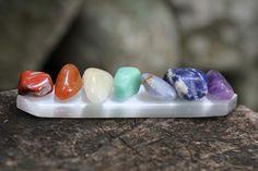 Chakra stones on selenite Root - Red Jasper Sacral - Carnelian Power - Citrine Heart - Amazonite Throat - Blue Lace Agate 3rd Eye - Sodalite Crown - Amethyst