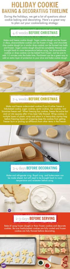 This holiday season, you don't have to do all of your cookie baking and decorating in one day! With some planning (and freezer space) you can get a head start on your holiday cookies. Check out this ultimate cookie making timeline! Holiday Cookies, Holiday Treats, Christmas Treats, Christmas Goodies, Christmas Desserts, Holiday Baking, Christmas Baking, Christmas Makes, Christmas Holiday