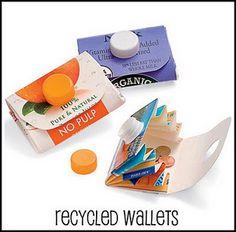 milk and juice carton wallets