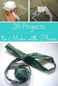 Check out all of the awesome stuff that you can make with plarn, including how to make plastic yarn in the first place.  Plarn is yarn that you make by cutting up and knotting together plastic bags. I