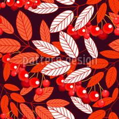 Botanical Mountain Ash Seamless Pattern Seamless Pattern by Elena Alimpieva at patterndesigns.com