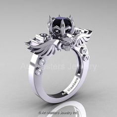 Art Masters Classic Winged Skull 14K White Gold 1.0 by artmasters