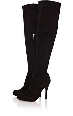 Karen Millen Suede over the knee boot    Stretch suede plaform over the knee boot with 12cm heel and 1cm platform.