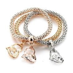 Luxury Love Crystal Charm Bracelet with Chain (Set of 3 Colors) (340 MXN) ❤ liked on Polyvore featuring jewelry, bracelets, chain charm bracelet, crystal jewelry, crystal jewellery, crystal bangles and crystal stone jewelry