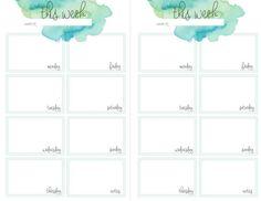 teal watercolor weekly planner printable