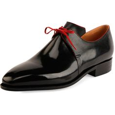 Corthay Arca Calf Leather Derby Shoe with Red Piping (188850 RSD) ❤ liked on Polyvore featuring men's fashion, men's shoes, men's dress shoes, black, mens black dress shoes, mens derby shoes, mens red dress shoes, mens red shoes and mens black shoes
