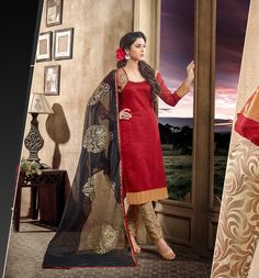 Red Banarasi Churidar Suit 63100
