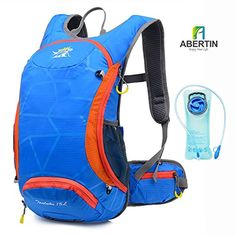 Abertin Hydration Packs with 70 oz 2L water Bladder - 15L Lightweight Hydration backpack for Cycling Running Hiking MTB Bicycle Backpacking. LIGHTWEIGHT & GOOD VOLUME: Includes storage compartments that will fit your clothes, iPad, phones and even a DSL camera. For even more storage, the side pockets allows you to pack even more on your hike. There are also a net pocket for helmet. FIT YOU PERFECTLY: Adjustable shoulder/chest straps will fit chest sizes from teenagers up to adults (men and…