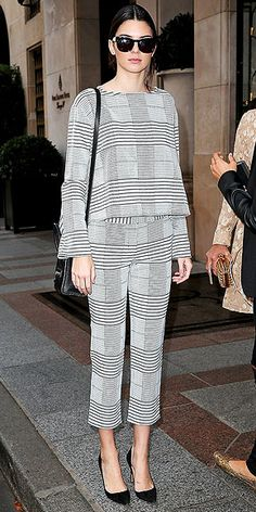 KENDALL JENNER Allover plaid is intimidating. But if you're going to do it, follow Kendall's lead and stick to a subtle black-and-white tartan. Because, you know, if you go with a non-neutral, you might end up looking like Cher in Clueless.