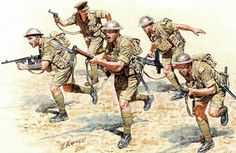 The Master Box British Infantry in Action Northern Africa in scale from the plastic figure models range accurately recreates the real life British infantry from World War II. This plastic figures kit requires paint and glue to complete. British Army Uniform, British Uniforms, British Soldier, Military Art, Military History, Military Uniforms, Ww2 Uniforms, Military Style, Army Drawing