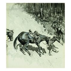 Crossing a Dangerous Place by Frederic Remington Frederic Remington, Western Art, Various Artists, American Artists, Impressionism, Art Forms, Find Art, Framed Artwork, Buffalo