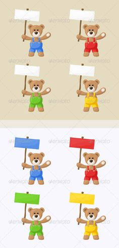 8 Teddy Bears with Signboards  #GraphicRiver         Small package with eight teddy bears with colored pants and signs. The file is made with no transparencies and gradients.   Vector eps, jpg, and transparent png are included in the zip file with pixel dimensions of bitmaps 5000 × 5000 px (four bears on one image).     Created: 24August13 GraphicsFilesIncluded: TransparentPNG #JPGImage #VectorEPS Layered: No MinimumAdobeCSVersion: CS Tags: animal #bear #blank #blue #board #bruin #cartoon…