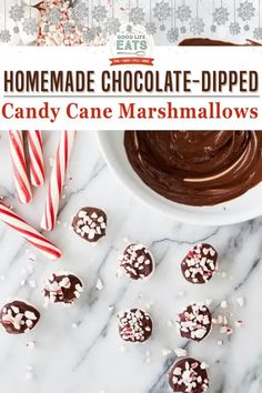 Homemade Candy Cane and Chocolate-Dipped Marshmallows are a fun holiday treat to make. They are delicious in a mug of hot cocoa and are great for holiday gifting! Did you know you can make homemade marshmallows? It's pretty easy, and like most things homemade they taste so much better! You can even dip them in melted chocolate and sprinkle with crushed candy cane. | Good Life Eats @goodlifeeats #homemademarshmallows #diyholidaygifts #goodlifeeats Chocolate Dipped Marshmallows, Homemade Marshmallows, Melted Chocolate, Homemade Candies, Homemade Chocolate, Homemade Gifts, Christmas Party Food, Christmas Desserts, Holiday Treats