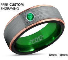 Tungsten Green Ring Rose Gold Wedding Band Ring Green Emerald Tungsten Carbide 8mm 18K Man Wedding Band Male Women Anniversary Matching