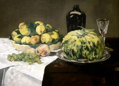 Manet, Édouard Nature morte au melon et aux pêches (Still Life with Melon and Peaches) 1866 Oil on canvas, x 91 cm National Gallery of Art, Washington Henri De Toulouse Lautrec, Canvas Art Prints, Oil On Canvas, Fine Art Prints, Large Canvas, Paul Cezanne, Renoir, Monet, Edouard Manet Paintings