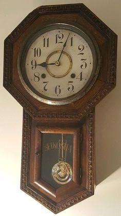 Antique Japanese Rusic Chiming Schoolhouse Regulator Clock