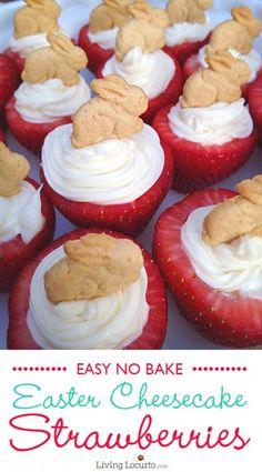 Easter Bunny Cheesecake Stuffed Strawberries {No Bake Dessert}