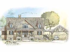 Home Plans HOMEPW09792 - 2,332 Square Feet, 3 Bedroom 3 Bathroom Cottage Home with