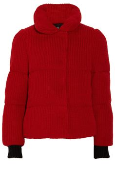 DKNY Red Knit Down Jacket