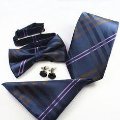 New Necktie&Bowtie&Handkerchief&Cufflinks Sets Polyester Jacquard Ties for Men Paisley Floral Striped Plaid Necktie Gravatas Tie