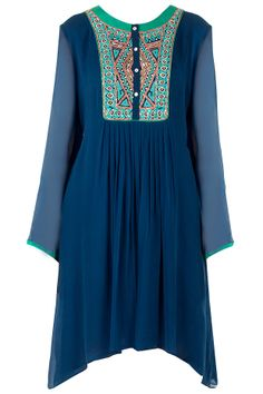 Blue pleated tunic available only at Pernia's Pop-Up Shop.