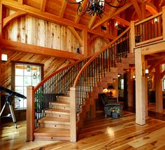A one-of-a-kind timber stairway with solid treads and custom ironwork. Timber Frame Homes, Timber House, Timber Frames, Rustic House Plans, Small House Plans, Rustic Outdoor Decor, Rustic Home Design, Log Cabin Homes, Log Cabins