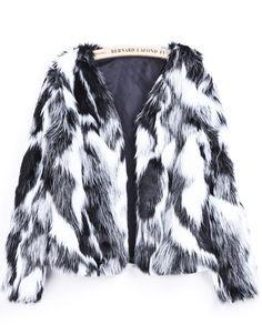 Black White Long Sleeve Crop Faux Fur Coat - Sheinside.com