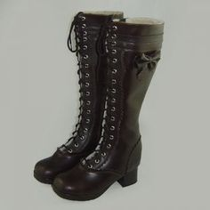 0.18 inch Heel Curry Bow PU Lolita Boots on SaleLolita.com