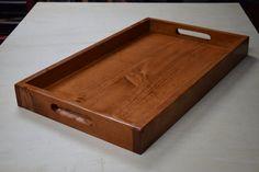Wooden Serving Tray Ottoman Tray Breakfast by BlueLineGarage