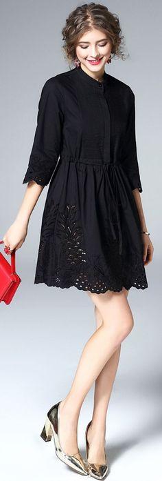 Black Hollow Out Shirt Dress