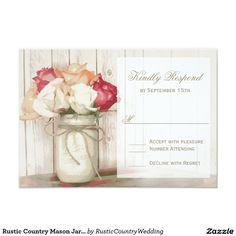 Rustic Country Mason Jar Roses Wedding RSVP Cards