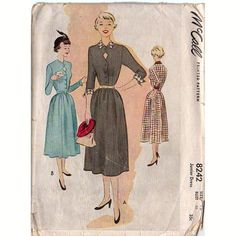Vintage 1950s McCall Sewing Pattern 8242 Junior Below the Knee Dress Bust 33