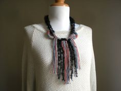 Yarn knitted necklace Fabric bib necklace Fiber yarn statement necklace by LarvaMade