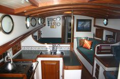 Not sure what kind of boat, but it is a beautiful kitchen/living space.