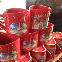 Gluhwein...hot spiced wine sold in German Christmas markets, always in pretty ceramic mugs.  No styrofoam here!
