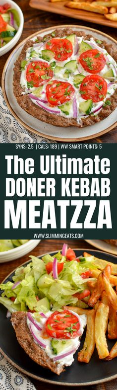 Doner Kebab Meatzza - the ultimate low syn fakeaway for when you can't decide between pizza or a kebab. Dairy Free Recipes, Diet Recipes, Gluten Free, Cooking Recipes, Healthy Recipes, Healthy Dinners, Easy Recipes, Healthy Food, Healthy Eating