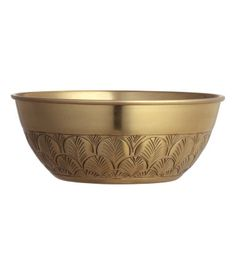 Large bowl in gold-colored metal with an embossed pattern. Height 3 1/4 in., diameter at top 8 1/4 in.