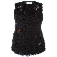 Valentino embroidered fur gillet (€7.145) ❤ liked on Polyvore featuring outerwear and vests
