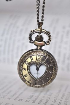 TIMELESS LOVE Victorian Style locket pocket watch pendant necklace I love clock necklaces, would love to have another Neo Victorian, Victorian Fashion, Pocket Watch Necklace, Clock Necklace, Pendant Necklace, Crystal Necklace, I Love Heart, Before Midnight, Vintage Love
