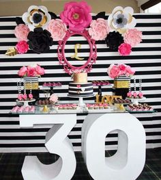 Wow! What a great 30th birthday black, white, pink and gold birthday party! See more party ideas at http://CatchMyParty.com!