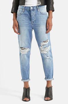 Topshop Moto 'Hayden' Ripped Boyfriend Jeans (Blue)   Nordstrom