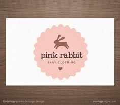 Premade Logo Design Bunny Emblem Label Kids Baby Boutique Photography Small Business. $15.00, via Etsy.