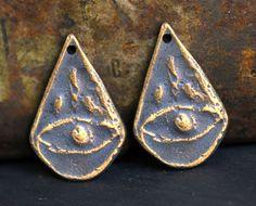 Bronzed Pewter Eye Charms Handmade Artisan Jewelry by Inviciti