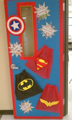 "Cut our capes out of dollar store tablecloths and add some ""action words"" or your kids names. Preschool is super. Super hero bulletin boards"