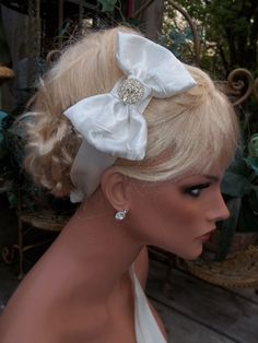 Bridal Headband Ivory Satin Textured Bow by kathyjohnson3 on Etsy, $39.00