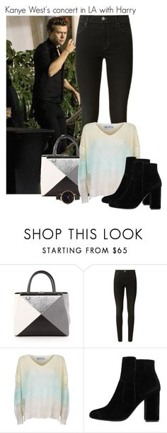 """Kanye West's concert in LA with Harry"" by fangirl-preferences ❤ liked on Polyvore featuring Fendi, J Brand, Wildfox, MANGO and Olivia Burton"